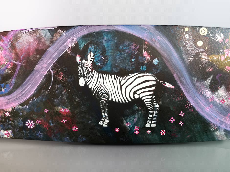 longboard painted by Henry Ryder depicting a zebra